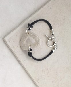 True Love Open Black Leather Bracelet