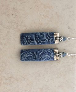 fossil shell rectangle earrings