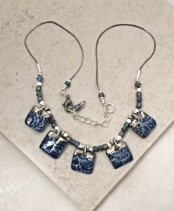 fossil shell tile necklace