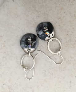 connection circle drop earrings