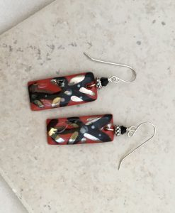 blooming Flower Red and Black Earrings