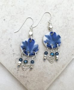 Blue Flower Splash Earrings