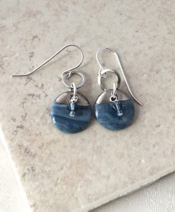 Blue Water Small Disc Earrings